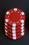 injection-moulded or composite poker chips red