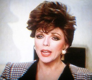Joan Collins as Alexis Carrington in Dynasty, courtesy of a screengrab by Brian Byrne